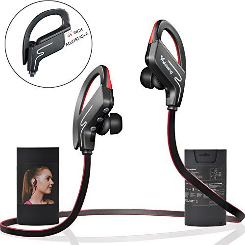 Bluetooth Headphones Vodabang IPX4 Sweatproof Wireless Sport Earphones with Mic for all Cell Phones Tablet BlackRed ** Find out more about the great product at the image link.