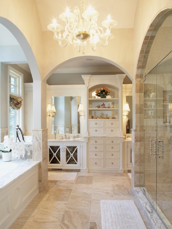 Rough Hollow Master Bath - mediterranean - bathroom - austin - Cornerstone Architects