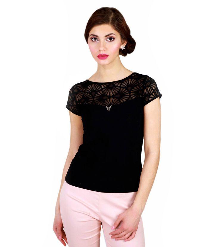 FashionSupreme - Tricou Scarlet în negru - Haine de damă - Bluze - Waxima - potrivit pentru gusturi sofisticate. Haine şi accesorii de marcă. Haine de designer.