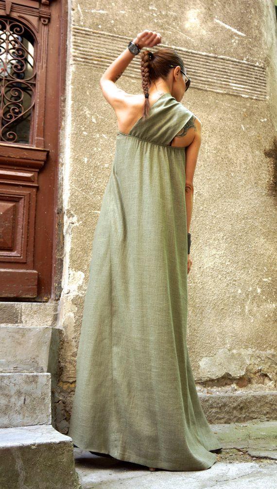 NOUVEAU Maxi Dress / robe de lin Kaftan Vert Olive / une