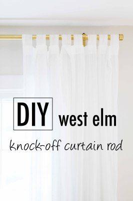diy knock off west elm curtain rod hack. Rustoleaum metallic gold spray paint on ikea rod