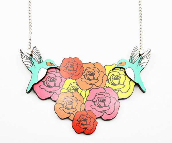 Love Ikandi #hummingbird and rose neck plate, Love Ikandi is a Queensland based business. All jewellery is designed and made in Australia.