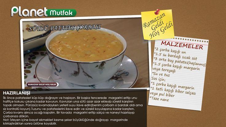 """Kerim Uluğbay ve Onur Abalı'nın """"Ramazan Geldi Hoş Geldi"""" programında sizler için yaptığı """"Sütlü Patates Çorbası"""" tarifi."""