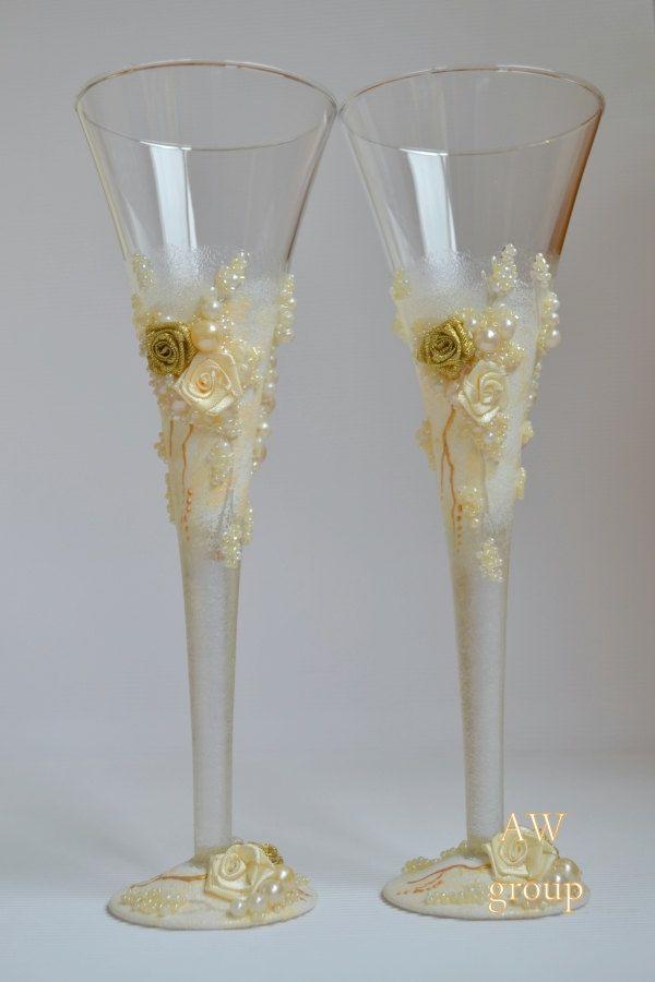 Gold Wedding Flutes Champagne Gles Toasting Boho Style Ivory Bridal Decor Bohochic