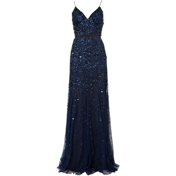 Untold Beaded godet dress ($205) ❤ liked on Polyvore featuring dresses, gowns, long dresses, vestidos, navy, women, navy blue maxi dress, blue ball gown, navy blue gown and long blue dress