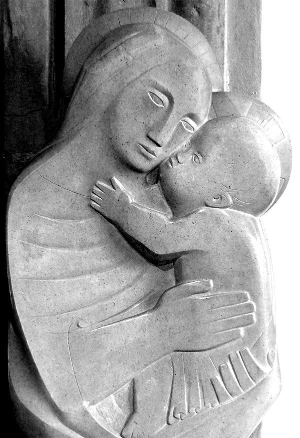 The 1954 Madonna and Child, Bianco del Mare sculpture by Barbara Hepworth can be found in the lady chapel of St Ia parish church in St Ives, Cornwall.