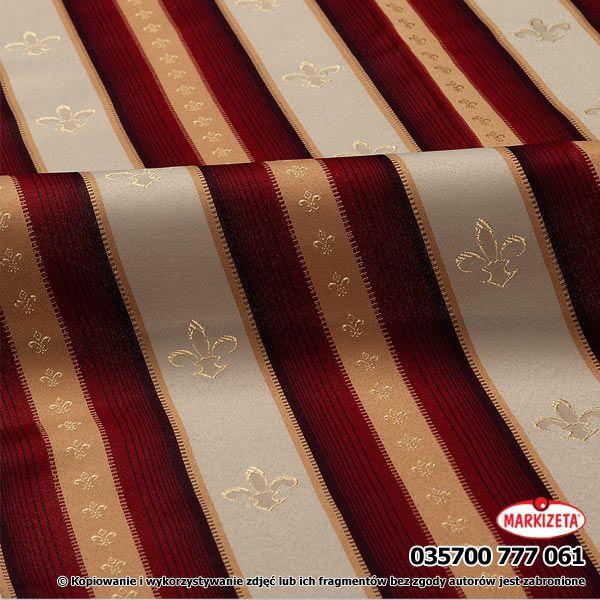#zasłony_w_pasy Bordowo-kremowa tkanina  z najwyższej jakości przędzy. Wzór i kolorystyka zasłon uszytych z tej tkaniny, daje nam namiastkę pałacowego, barokowego wnętrza. Elegancja na najwyższym poziomie. szerokość: 295 cm  kolor: bordowo-kremowy przepuszczalność światła: mała Możesz zlecić szycie w naszej profesjonalnej szwalni ceny już od 2,50 zł/mb.  kasandra.com.pl
