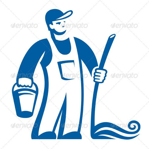 cleaning person sign cleanses graphic design