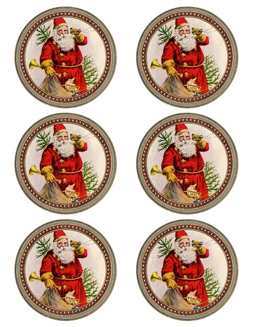 Yes, Virginia, there is a Santa Claus... Vintage Santa printable ~ 6 round graphics approx. 3.5""