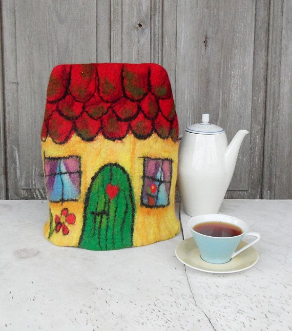 Hand felted teapot cozy like little fairy tale house will be great table decoration for tea lovers! I made it of natural wool using only hot water and