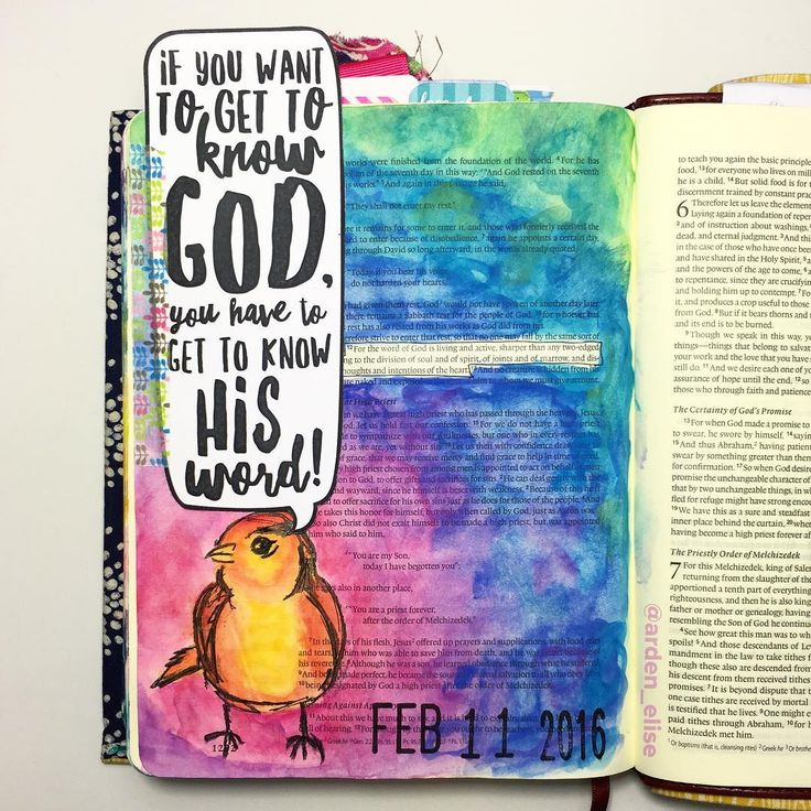 """After yesterday's all grey page, I had to use #allthecolors today!!! My crazy talented friend @tazandbelly sent me that adorable quote bubble printable, & I couldn't wait to use it! Hebrews 4:12, """"For the word of God is alive and active, sharper than any double-edged sword."""" That quote perfectly sums up my goal for this Lenten season: to seek to know God better by diving into God's Word. 