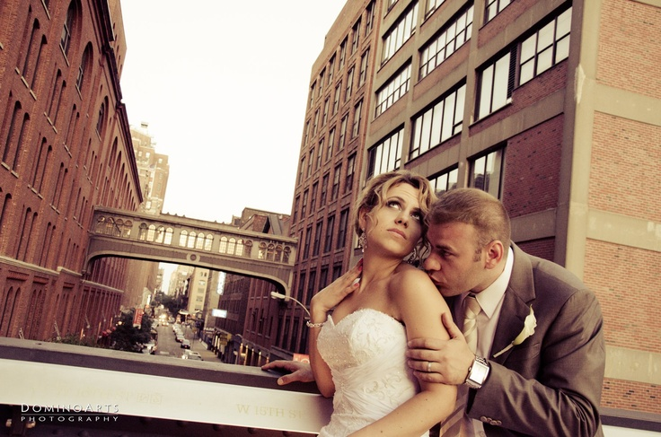 Urban #wedding #portrait of the #bride and the #groom at #New #York City by #DominoArts #Photography (www.DominoArts.com)