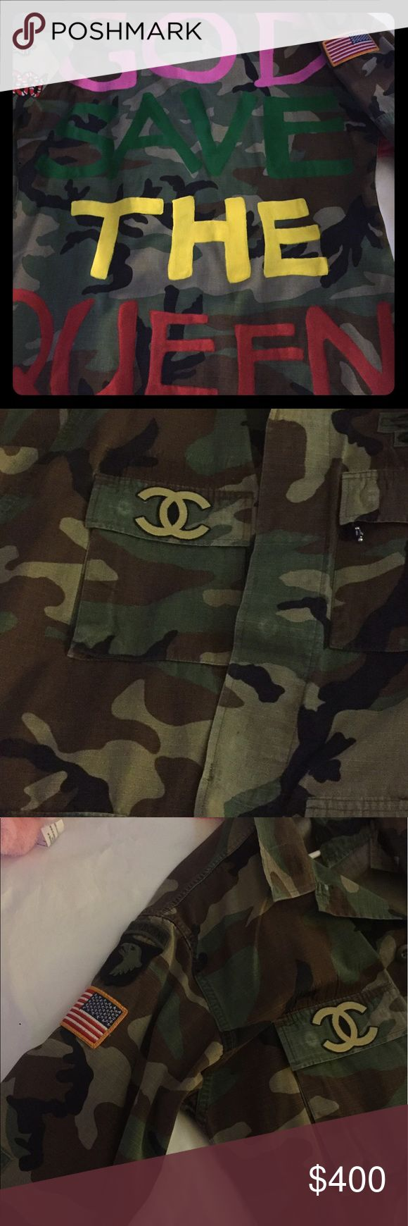 GOD SAVE THE QUEEN CAMO JACKET One of a kind, authentic military camo jacket, price firm, OVERSIZED FIT, medium/large. Yeezy Jackets & Coats