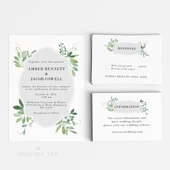 Digital Printable Watercolor Botanical Garden Wedding Invitation Set - Ready to Print PDF  This listing includes one set of READY-TO-PRINT