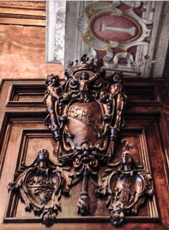 #Rome #coat of arms ,ornamental  c.o.a. shields #heraldry #decorative #architecture #ornament  #italy #wood
