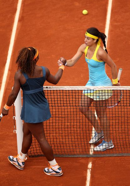 Sorana Cirstea Sorana Cirstea of Romania shakes hands with Serena Williams of United States of America after their Womens Singles match on day six of the French Open at Roland Garros on May 31, 2013 in Paris, France.