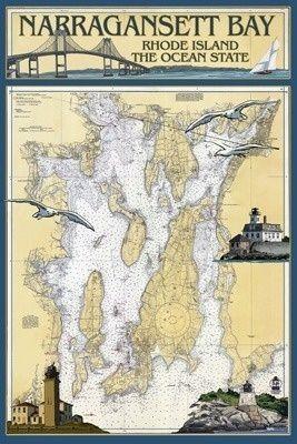 Narragansett Bay, Rhode Island Nautical Chart - Lantern Press Poster