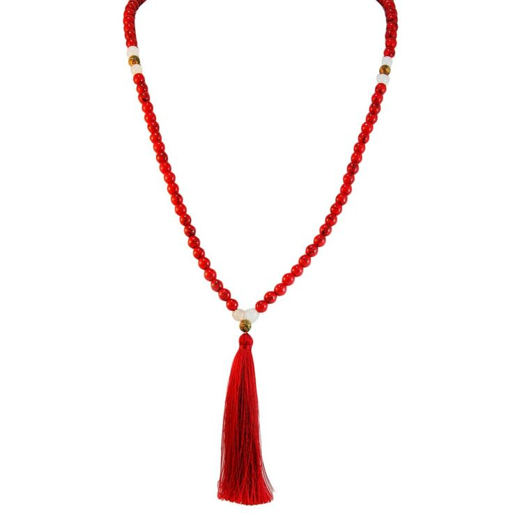 Women's Red Turquoise Healing Stone 40 inch Necklace