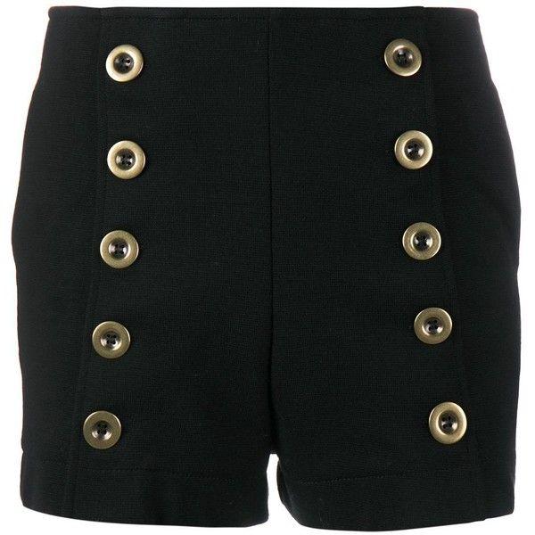 Chloé military shorts (44.725 RUB) ❤ liked on Polyvore featuring shorts, black, pocket shorts, chloe shorts, formal shorts, side zip shorts and military shorts