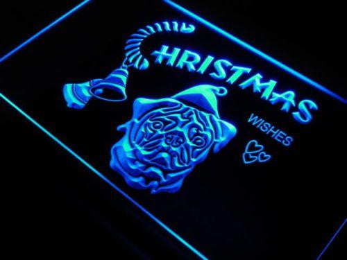 Pug Dog Christmas Xmas Wishes Neon Light Sign