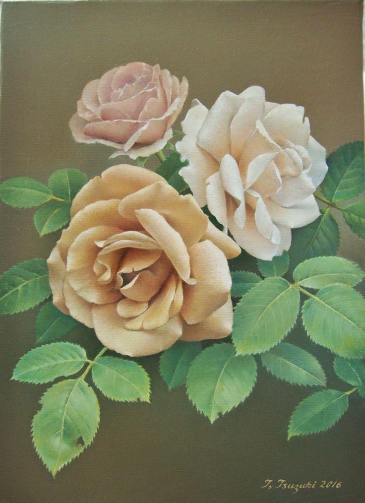 「ミルクティー色の薔薇 」 油彩(F4号) 2016年   過去に何度も描いた薔薇だけど、これ程までに色彩・容姿が多種多様で万人に愛されている花はないだろう。好みは人の数だけあると思うが、私のお気に入りは、敢えて一つだけ絞るなら・・・淡い目のアプリコット系(ハイブリッド)だろうか。  名前は不明だが、数年前に植えた薔薇が毎年ミルクティー色の花を健気に咲かせる。その大輪の存在感にはいつも惚れ惚れする。  決して愛情一杯手を掛けてる訳ではないが、病害虫に負けず枝葉を伸ばし、5月半ばに3~4輪の花を楽しませてくれる立派な薔薇だ。 その真摯な生き様に敬意を表して描いたのがこの絵である。
