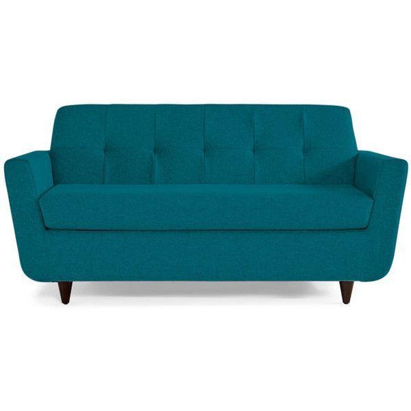 Joybird Hughes Mid Century Modern Blue Twin Sleeper ($959) ❤ liked on Polyvore featuring home, furniture, sofas, blue, mid century couch, blue sofa, mid century loveseat, mid century modern loveseat and mid century modern sofa