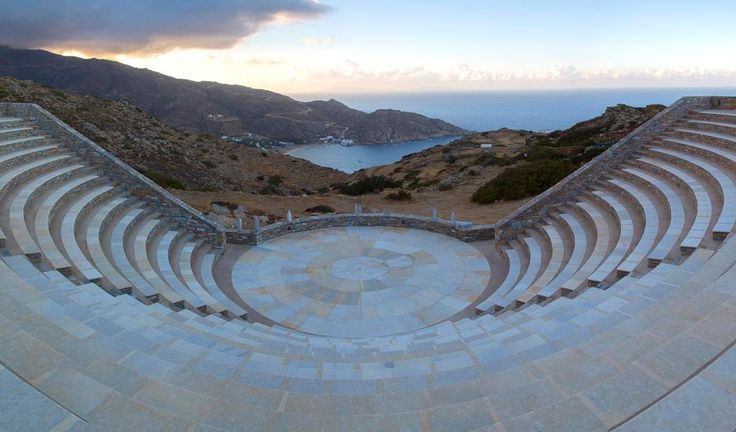 The Odysseas Elytis open-air theater at Ios island can hold up to 1.000 people, offering them a breathtaking view. Check it out in one of our excursions!  #cruise #travel #Ios #island #cyclades #Aegean #theater #breathtaking #view