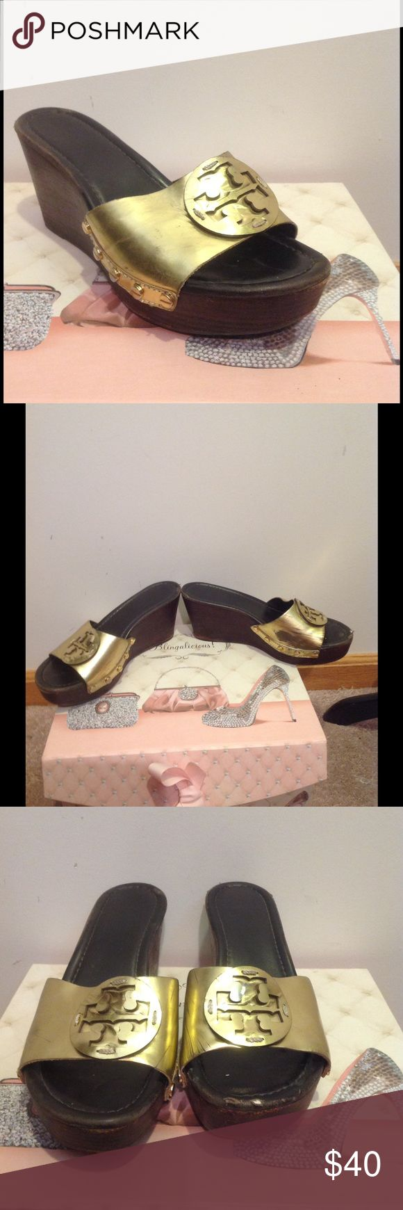 Tory Burch Gold Sandal Heels Wear shown in all pictures Tory Burch Shoes Sandals
