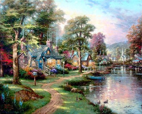 "Hometown lake-Thomas kinkade art print on canvas 20x24"" free shipping"