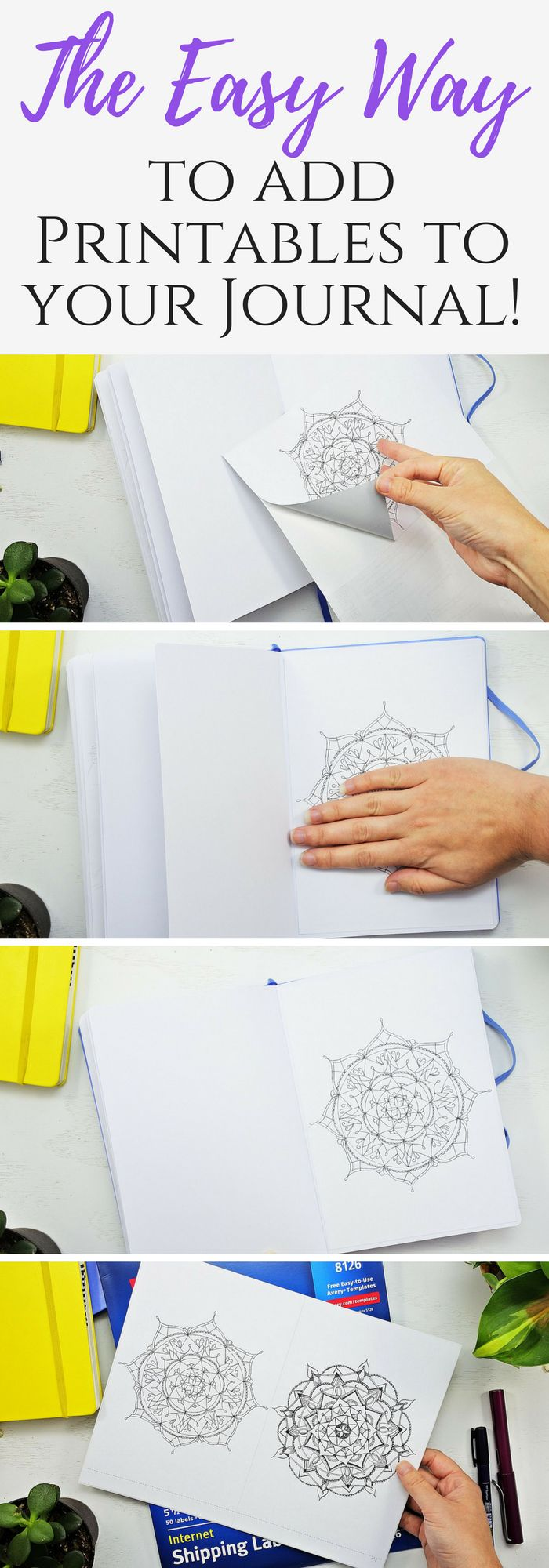 Step by step guide to placing your printables in your Bullet journal - no glue stick required!