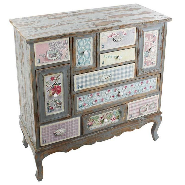 Wooden drawer with fabric in antique/pastel patchwork <3