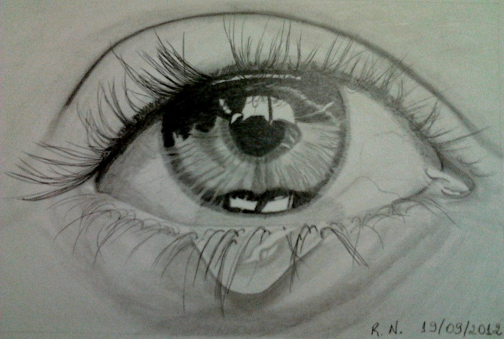 A single tear on the eye
