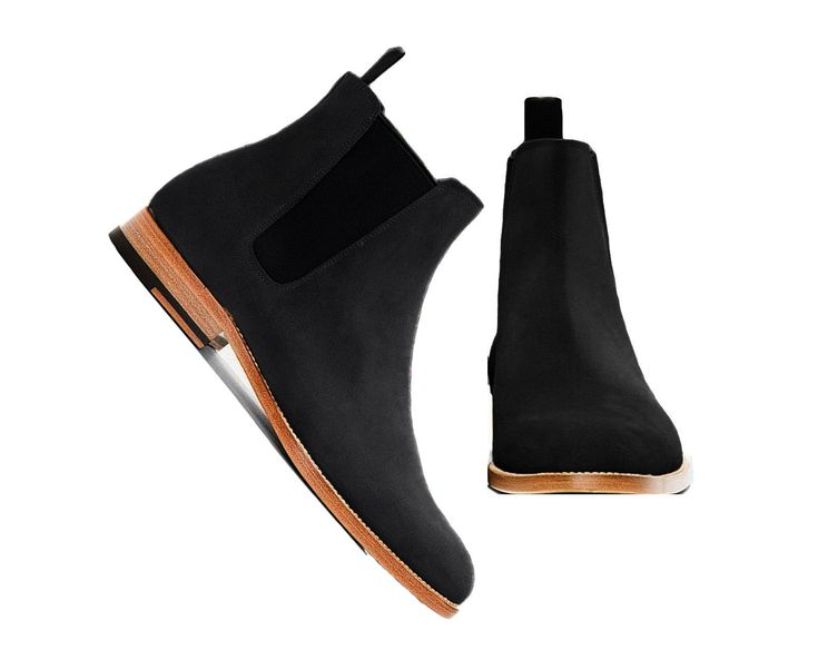 Handmade Chelsea Men's Black Chelsea Suede Boots Leather Sole Dress Formal - Boots