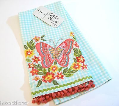 Artistic Accents Cotton Kitchen Tea Towel Embroidered Butterfly