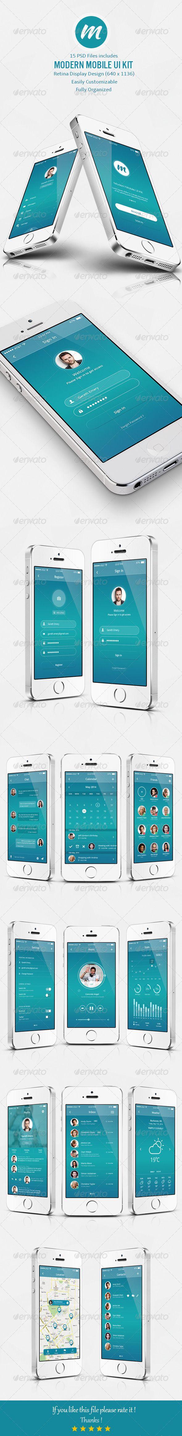 Modern Mobile UI Kit by dant3x.deviantart.com on @deviantART