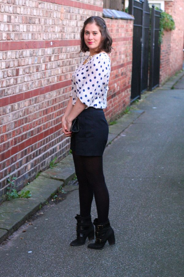 Zara Polka dot blouse and Whistles shorts with Pied a Terre boots