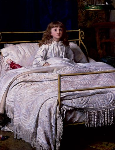 Sir John Everett Millais,1895, The Waking. Millais posed his second daughter Mary for this image of a young girl sitting bolt upright, stirred by birdsong.