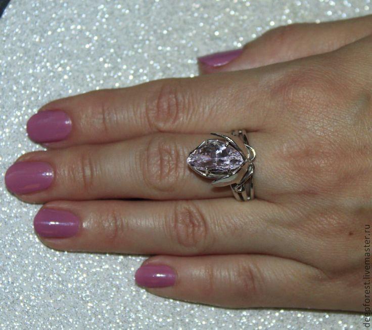 """Купить Кольцо с кунцитом """"Лотос"""" - бледно-розовый, кольцо, серебро, кунцит, сподумен, лотос, подарок"""