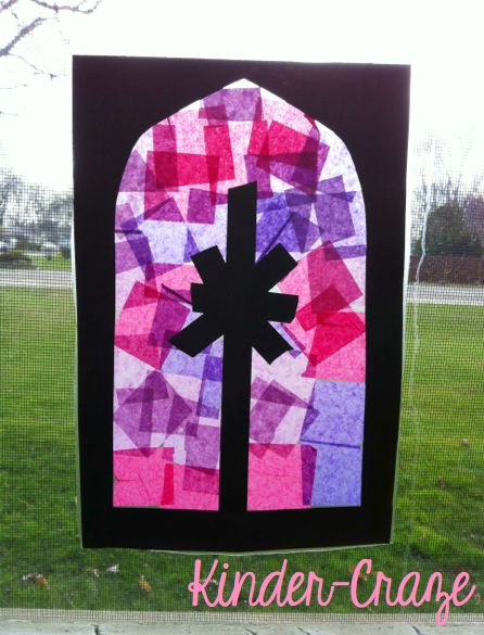 """Advent """"stained glass windows"""" made from contact paper, black construction paper, and purple & pink tissue paper squares"""