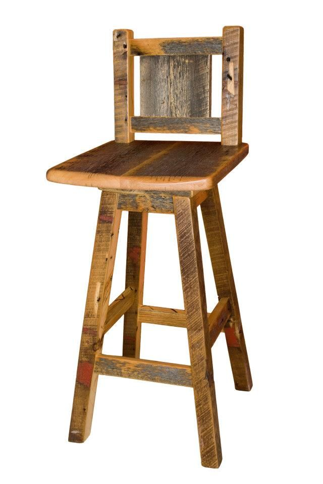 Swivel Bar Stool Handcrafted From Reclaimed Barnwood By