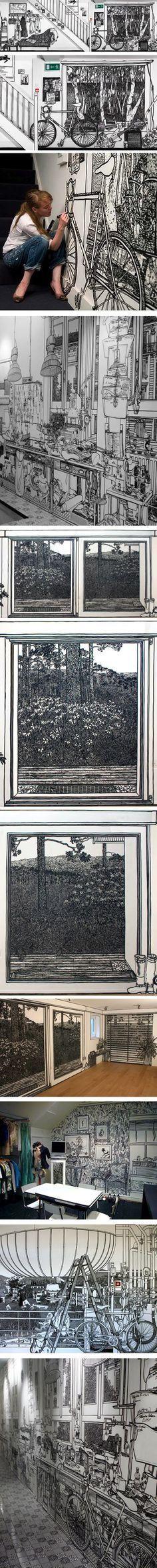 Charlotte Mann, wall drawings in marker
