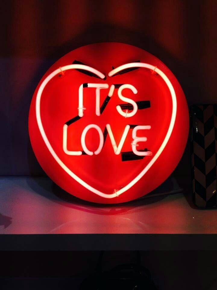 'It's love' by artist Chris Bracey #neon                                                                                                                                                                                 More