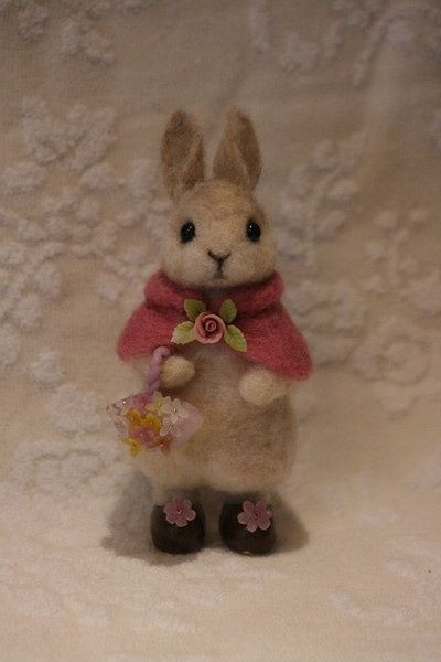 needle felted rabbit I'd love to move this rabbit to the squirrel, fox and bunnies board...But, it's not meant to be full of needle felted animals.cj
