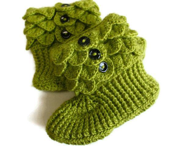 Free Crochet Pattern For Crocodile Stitch Boots : Crochet Crocodile Adult Slipper Boots in green by ...