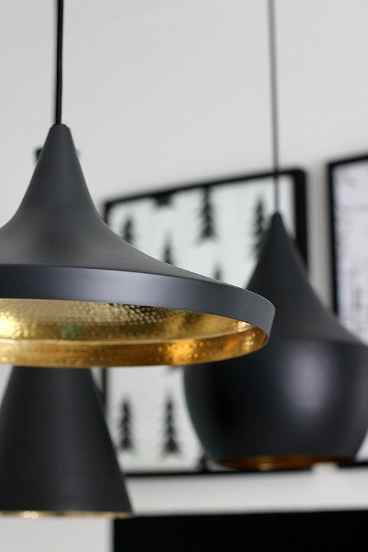 Detail of Tom Dixon Beat Lamps: Fat, Stout, Tall and Wide. available in matt black, white gloss, brass. Great as a set or individual.