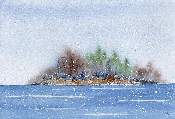 SNOW painting original watercolor SFA impressionist seascape