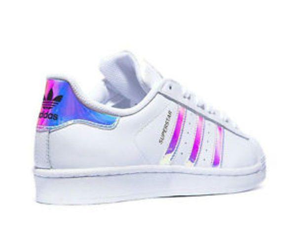 20441a0238b ... Holographic White Trainers Adidas Superstar (GS)White Metal Silver  Juniors Women s Girls Boys Trainers ...