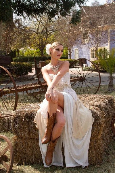 Non Traditional Country Wedding Gown with Ostrich by CGHeaven, $289.00