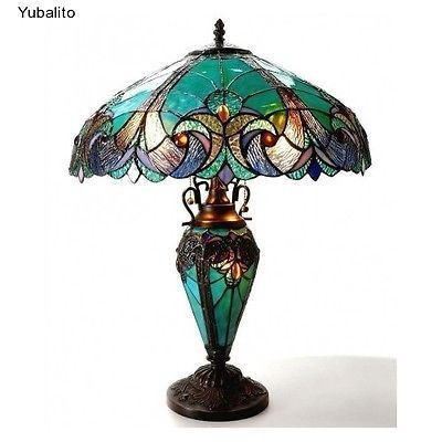 Vintage-Table-Lamp-Tiffany-Style-Lighting-Home-Garden-Antique-Century-Desk-Decor