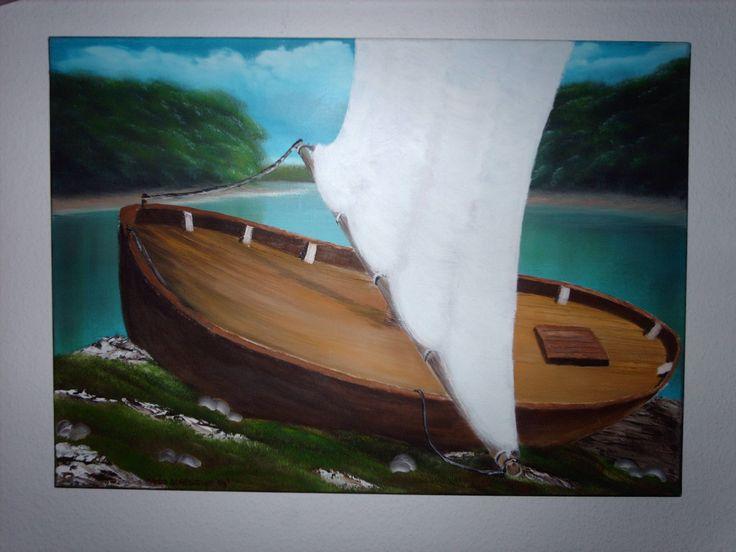 """Dieses Gemälde ist ein Experiment nach der berühmten """"Bob Ross"""" Art. Ich nenne es """" GESTRANDET"""". Gemalt habe ich es mit Original Bob Ross Ölfarben auf Leinwand. 70x50x2...kg"""